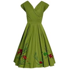 1950's Under-The-Sea Novelty Handpainted Applique Olive Green Cotton Sun Dress