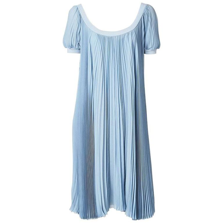 Hermes Dusty Blue Silk Georgette Pleated Dress 1