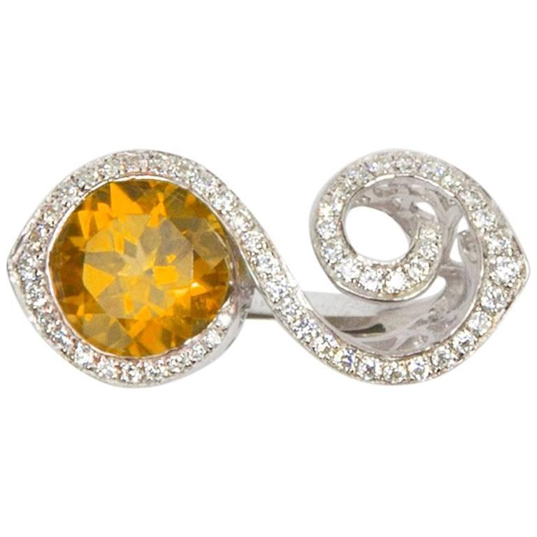 Toi et Moi Bypass Citrine CZ Sterling Silver Rhodium Runway Ring For Sale