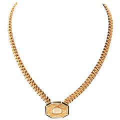 Balenciaga Necklace -Gold Tone Metal w/ Pendant - 1980s