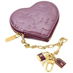 Louis Vuitton Porte Monnaies Cruer Dark Purple Violet Heart Shaped Coin Case