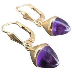 Vintage Danish 14k Gold Amethyst Drop Earrings Modernist 14ct 585 Gold