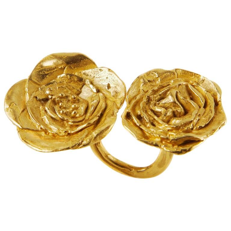 Giulia Barela 24 karat Cameliae Ring, gold plated bronze For Sale
