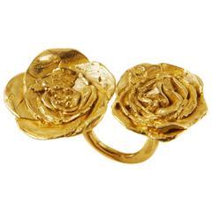 Giulia Barela 24 karat Cameliae Ring, gold plated bronze