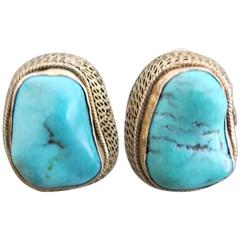 Vintage Chinese Large Turquoise Silver Gilt Earrings Filigree