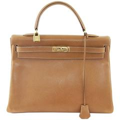 Iconic Hermes Kelly Gold Leather Rarity 35 cm