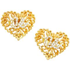CHRISTIAN LACROIX Vintage Heart Clip-on Earrings in Gilt Metal and Brilliant