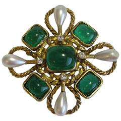 Vintage CHANEL Brooch Couture in Gilt Metal, Emerald Molten Glass, Rhinestones