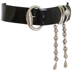 1980s Gianni Versace Black Leather with Silver Metal Buckle Belt