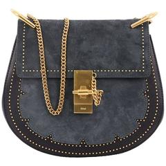 Chloe Drew Crossbody Bag Studded Leather and Suede Small