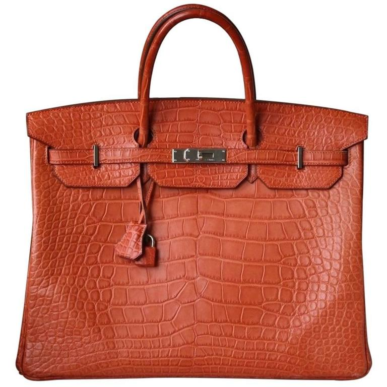 Hermès 40CM Matte Alligator Palladium H/W Birkin Bag  For Sale