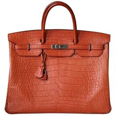Hermès 40CM Matte Alligator Palladium H/W Birkin Bag