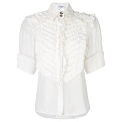 Chanel Ruffled Cotton-Silk Shirt