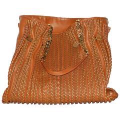 Bulgari Cognac Nappa Plisse Handbag