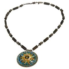 Early Rare Cecilia Tono Mexican Sterling Turquoise Necklace/Pin