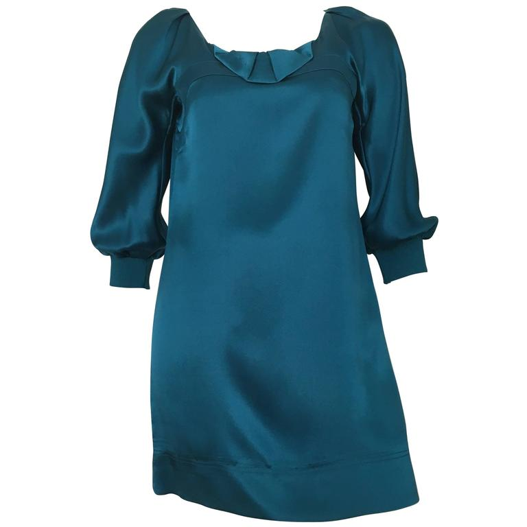 See by Chloe Teal Silk Mini Dress Size 4.