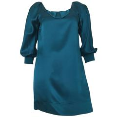 See by Chloe Teal Silk Mini Dress Size 4.