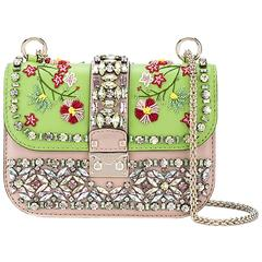 Valentino Crystal Embroidered Chain Shoulder Bag