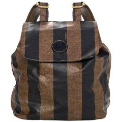 Fendi Vintage Black & Brown Stripe Mini Backpack Bag