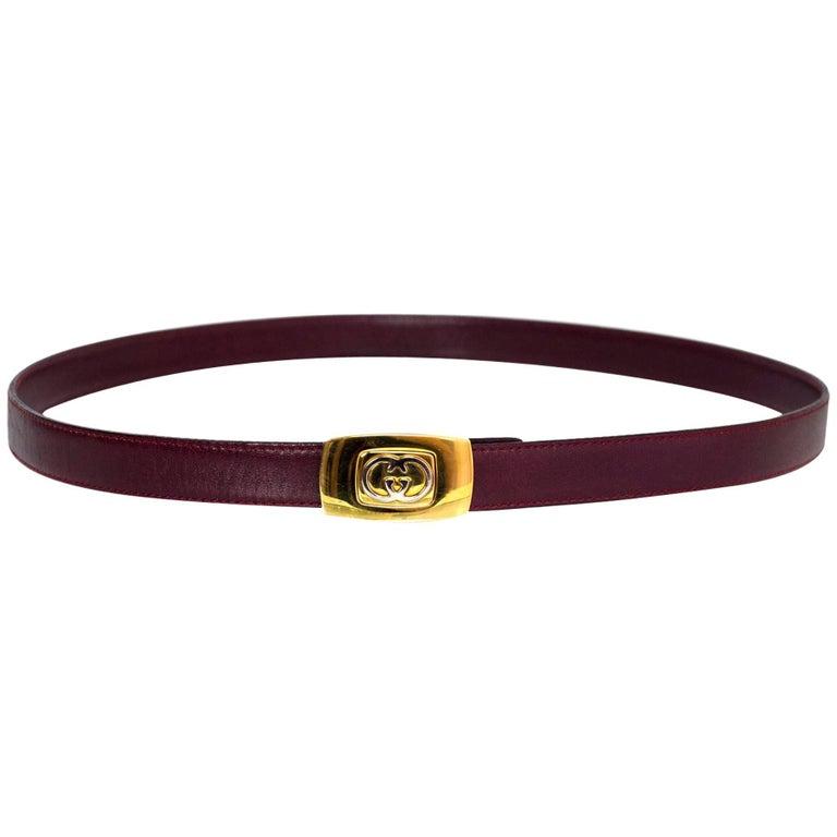 Gucci Vintage Burgundy Leather Belt Sz 75 For Sale At 1stdibs