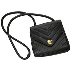 Vintage Black Leather Chanel Chevron Bag