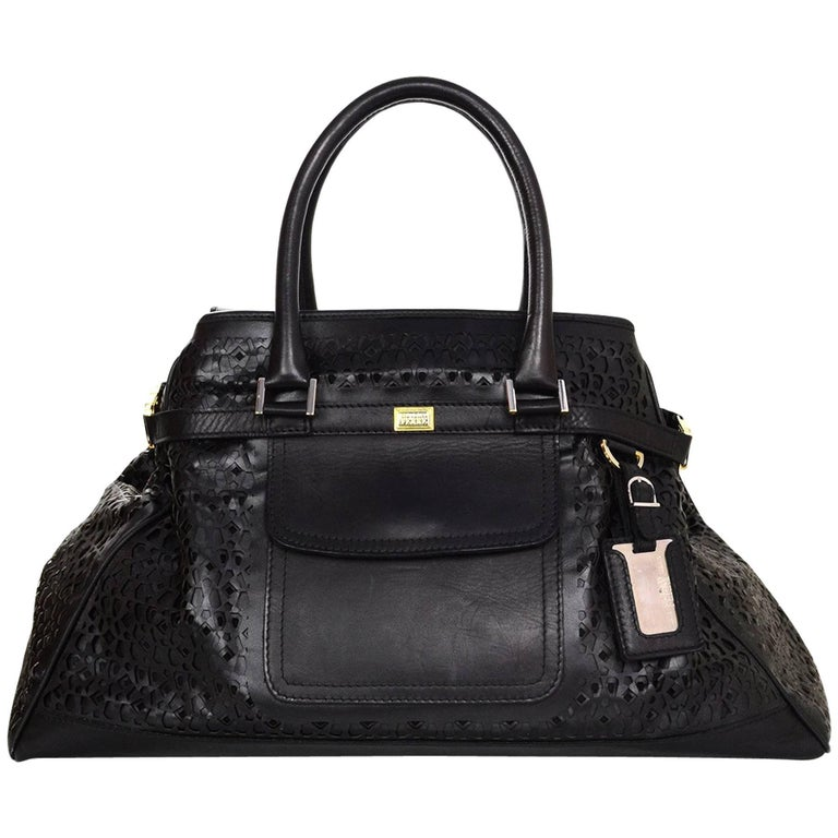 b0bedfce3e03c8 Gianfranco Ferre Black Laser Cut Leather Tote Bag For Sale at 1stdibs