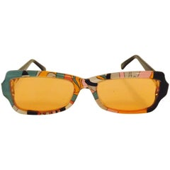 Vintage Pucci Iconic Print Sunglasses in Green, Pink and Orange