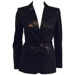 Prestigious Prada Black Fitted Leather Lambskin Jacket with Detachable Belt
