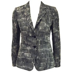 Modern Max Mara Fitted Jacket With Black, Grey and Beige Geometric Print
