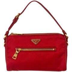Prada Red Nylon Pochette With Leather Strap and Gold Tone Hardware