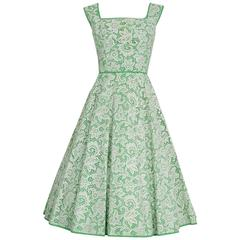 1950's Pat Premo White Lace & Green Cotton Illusion Full Circle-Skirt Sun Dress
