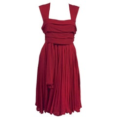 Classic Celine Red Viscose Dress With Shoulder Straps and Pleated Bodice