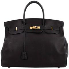 Hermes Birkin Handbag Black Evergrain with Gold Hardware 40