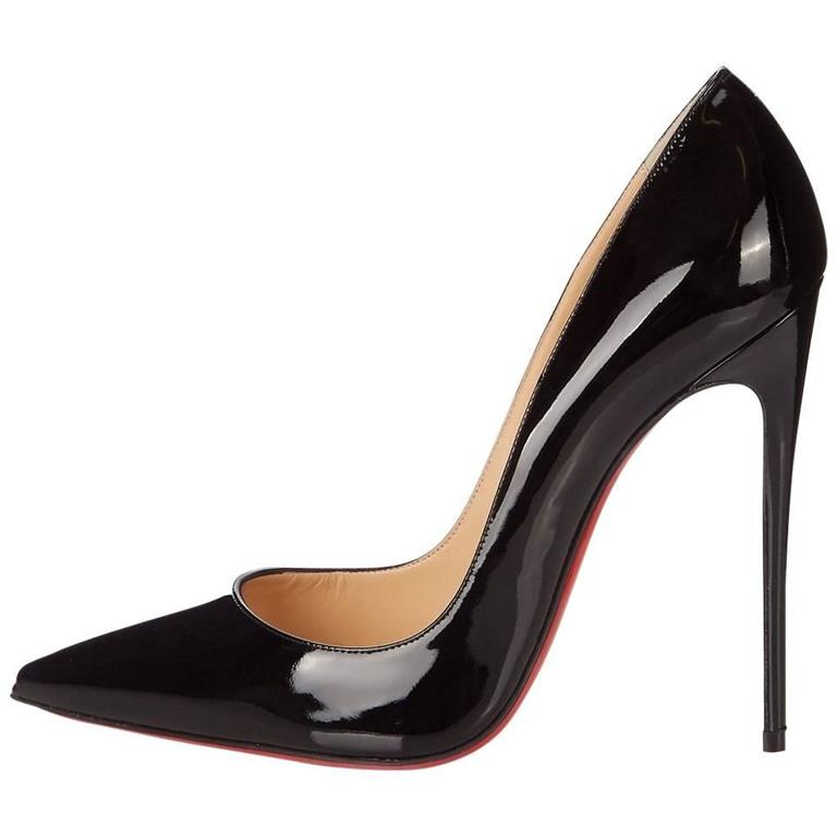 Christian Louboutin New Black Patent Leather So Kate High Heels Pumps in Box For Sale