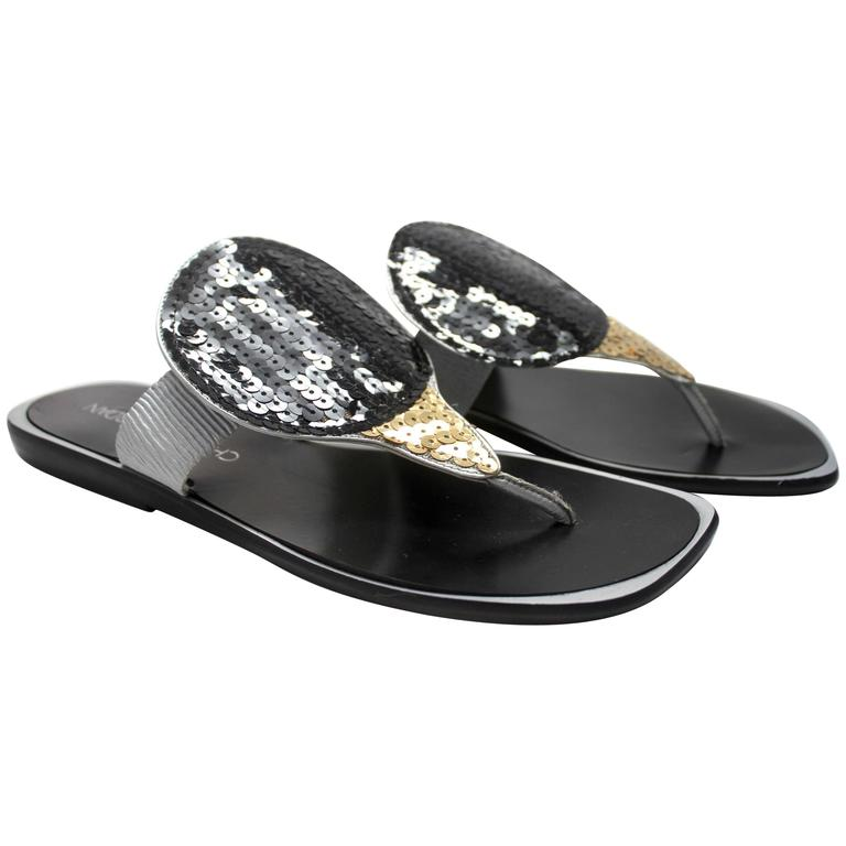 1990 Charles Jourdan Futuristic Black and Gold Sequin Sandals
