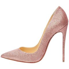 Christian Louboutin New Pink Canvas So Kate Evening High Heels Pumps in Box
