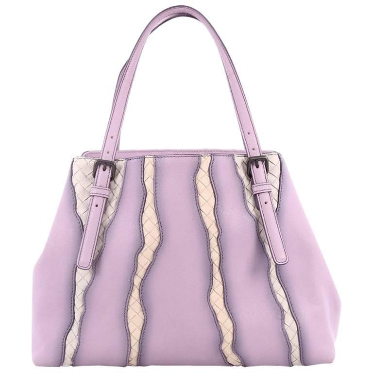 Bottega Veneta A-Shape Glimmer Tote Washed Nappa Leather with Intrecciato