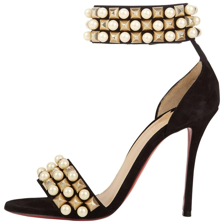 Christian Louboutin New Black Suede Gold Pearl Sandals Evening Heels in Box  For Sale