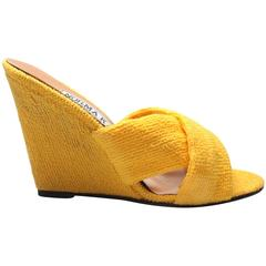1980s Norma Kamali Golden Yellow Terrycloth Wedges