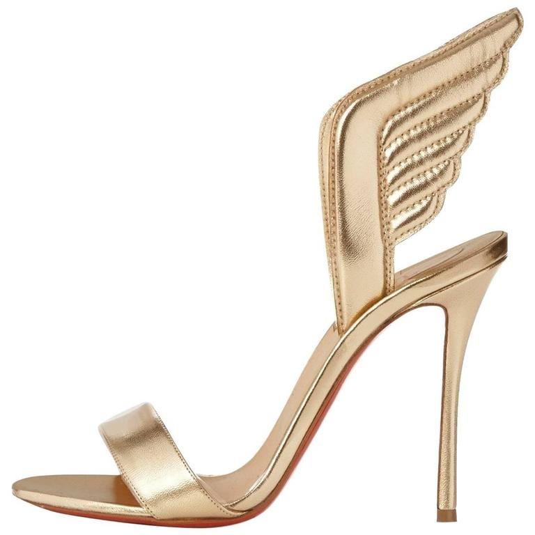 bf665d6c1dc Christian Louboutin New Gold Leather Wing Back Sandals Evening Heels in Box