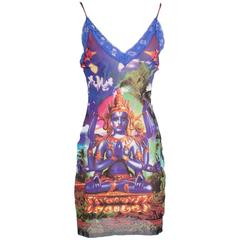 Jean Paul Gaultier Shive Print Mesh Slip Dress with Lace circa 1990s