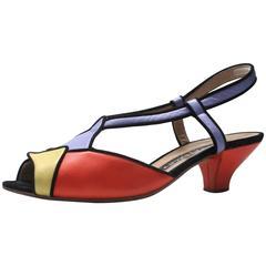 Maud Frizon 1980s Multicolored Geometric Shoes