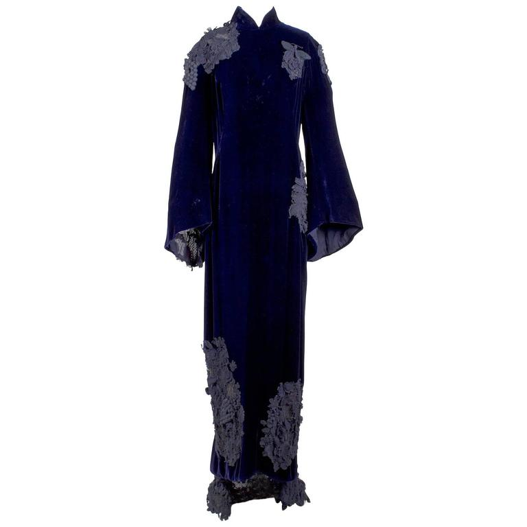 Jean Paul Gaultier Couture Deep Purple Velvet Dress with Appliques circa 1990s 1