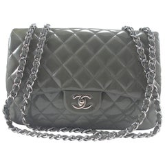 Chanel Quilted Patent Leather Classic Jumbo Chain Shoulder Bag Grey