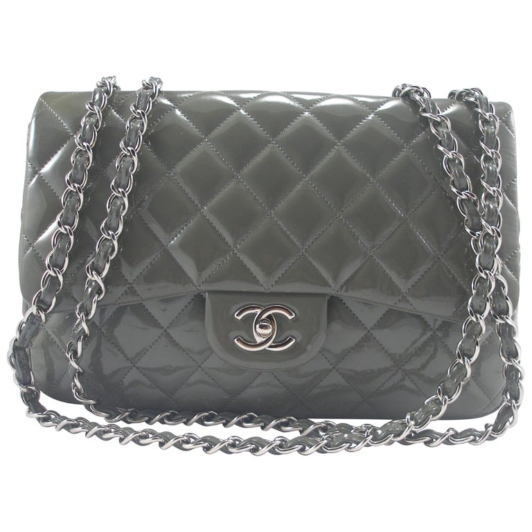 fe2fef5a68f723 Chanel Quilted Patent Leather Classic Jumbo Chain Shoulder Bag Grey For Sale