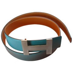 HERMES 32 mm Leather Belt Buckle H Quizz and Gold Bleu Paon 90  / BRAND NEW