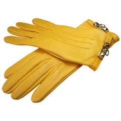 Hermes Médor Lambskin palladium Hadware Yellow Leather Gloves / BRAND NEW