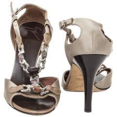 Giuseppe Zanotti Sandals Size 37.5FR  in Beige Silk Satin