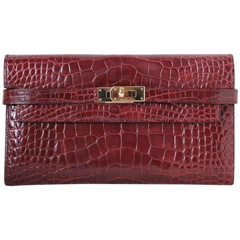 Hermès Kelly Croc Gold H/W Clutch Pochette Wallet