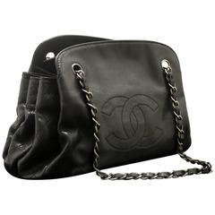 CHANEL Caviar Accordion Chain Shoulder Bag Black Quilted Leather